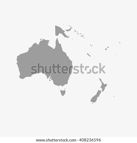 Map  of Oceania in gray on a white background