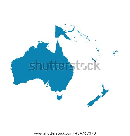 Map of Oceania on a white background. Flat vector