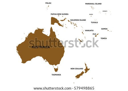 map of oceania with countries