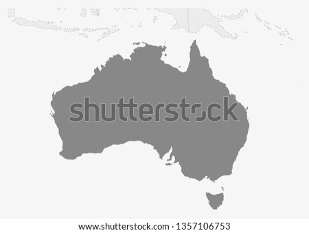Map of Oceania with highlighted Australia map, gray map of Australia with neighboring countries