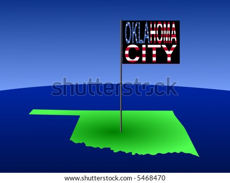 Map of Oklahoma with position of Oklahoma city marked by flag pole illustration