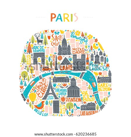 map of paris drawn by hand