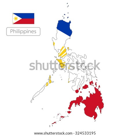 map of Philippines with the flag
