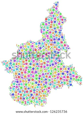 Map of Piedmont - Italy - in a mosaic of harlequin bubbles. White background