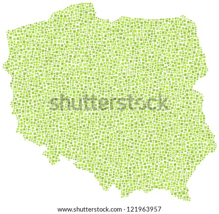 Map of Poland - Europe - in a mosaic of green squares. A number of 4895 little squares are accurately inserted into the mosaic. White background.