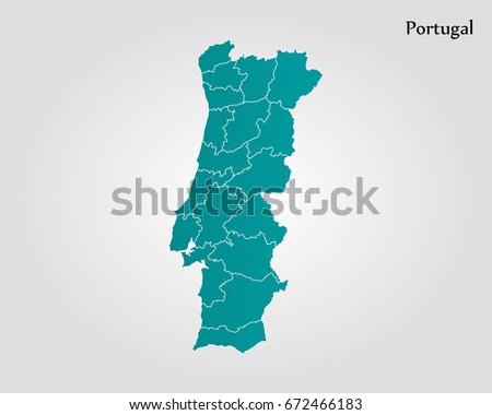 Flat map of portugal download free vector art stock graphics map of portugal gumiabroncs Gallery