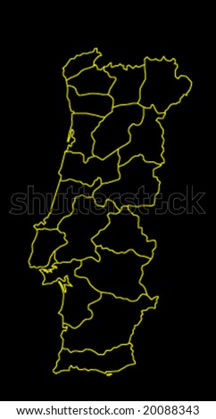 map of portugal black and yellow vector illustration - stock vector