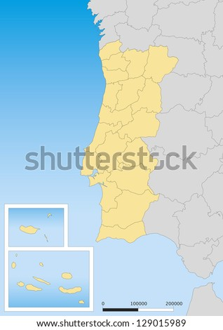 Map of Portugal with islands. Scale 1:3000000 UTM projection