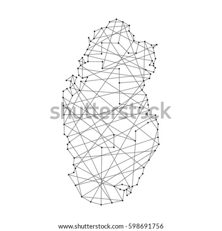 Map of Qatar from polygonal black lines and dots of vector illustration