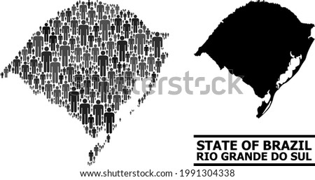 Map of Rio Grande do Sul State for demographics projects. Vector demographics collage. Composition map of Rio Grande do Sul State composed of human items. Demographic scheme in dark grey color tints. Foto stock ©