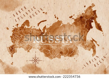 Map of Russia in old style in brown graphics in a retro style