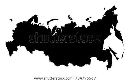 Map of Russia on white background. Vector, illustration