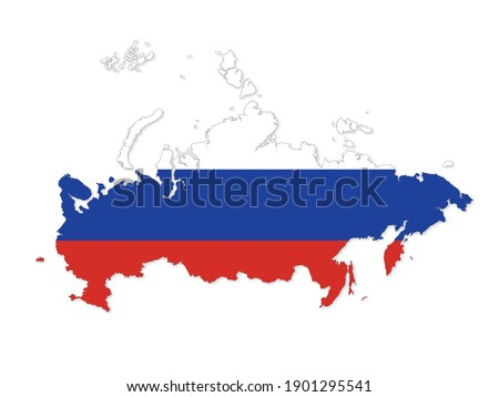 Map of Russia. Russian Federation map. Detailed country shape with flag isolated on white background. Vector illustration. Stockfoto ©