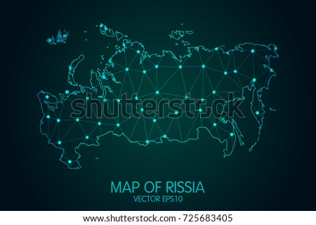 Map of Russia - With glowing point and lines scales on the dark gradient background, 3D mesh polygonal network connections.Vector illustration eps 10.