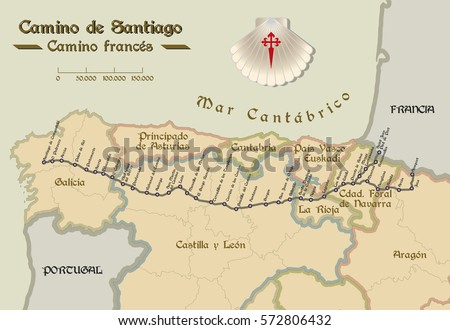 Shutterstock Map of Saint James way with all the stages of french way. Mapa del Camino de Santiago.