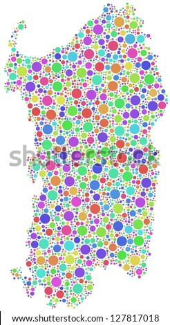 Map of Sardinia - Italy - in a mosaic of harlequin bubbles. A number of 2490 little circles are accurately inserted into the mosaic. White background.
