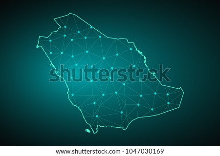 Map of Saudi Arabia. Wire frame 3D mesh polygonal network line, design sphere, dot and structure. communications map of Saudi Arabia. Vector Illustration EPS10.