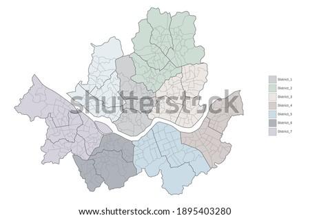 Map of Seoul, south korea. Seoul district map.