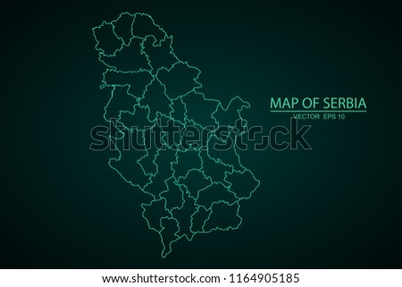 Map of Serbia,Green map on dark background of map of Serbia symbol for your web site design map. Vector illustration eps 10.