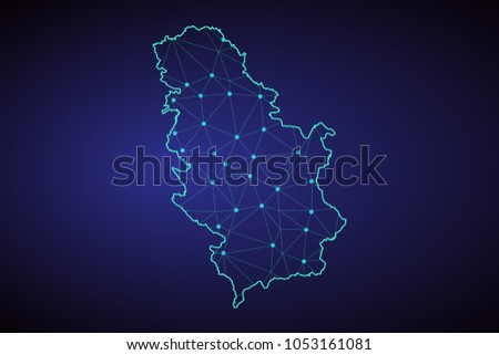 Map of Serbia. Wire frame 3D mesh polygonal network line, design sphere, dot and structure. communications map of Serbia. Vector Illustration EPS10.