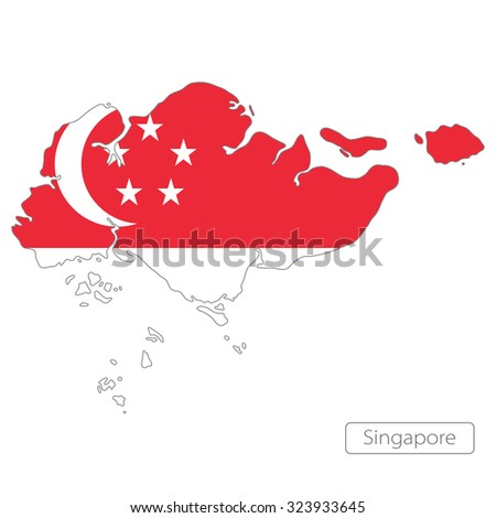 map of Singapore with the flag