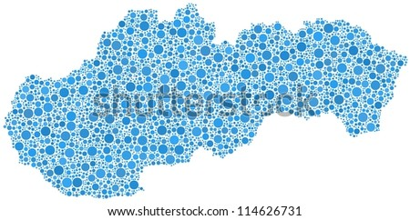 Map of Slovakia (Europe) in a mosaic of blue circles. A number of 4022 bubbles are inserted into the mosaic. - stock vector