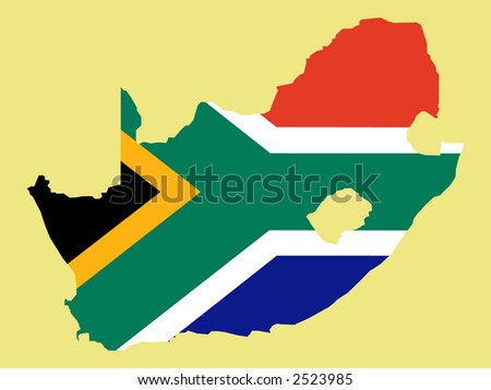 map of South Africa and South African flag illustration
