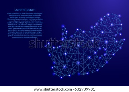 Map of South Africa from polygonal blue lines and glowing stars vector illustration