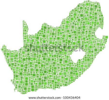 Map of South Africa in a mosaic of green squares