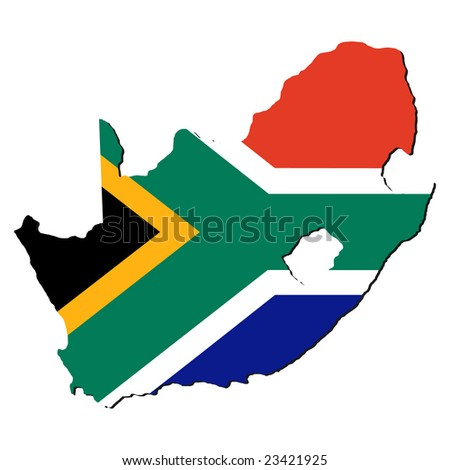 map of South Africa with their flag illustration