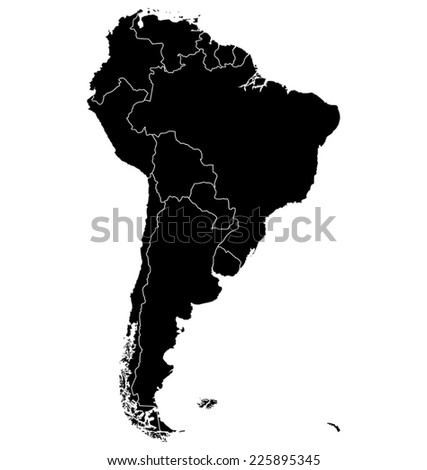 Map of South America. Separable Borders Photo stock ©
