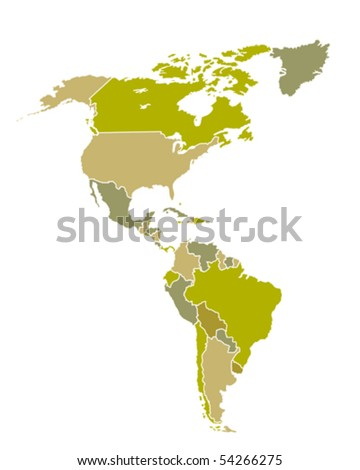 Map of South and North American countries