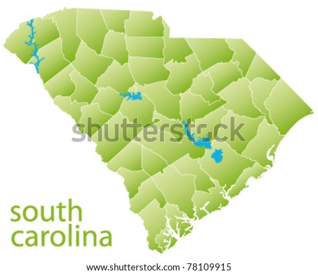 map of south carolina state, usa