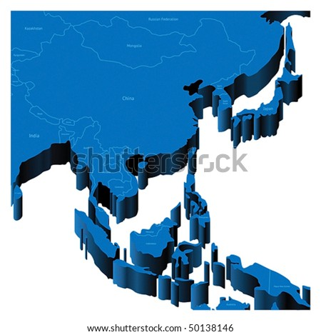 Map of South-East Asia Region with national borders and country names. Pseudo-3d vector illustration.