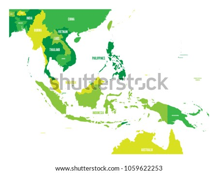 Free singapore map infographic vector download free vector art map of southeast asia vector map in shades of green gumiabroncs Images
