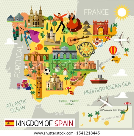 Map of Spain and Travel Icons.Spain Travel Map. Vector Illustration.