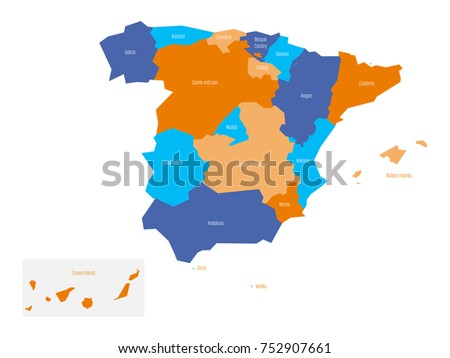 map of spain devided to