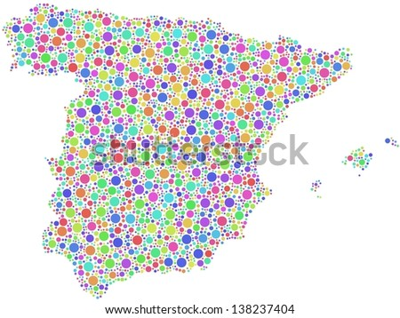 Map of Spain - Europe - in a mosaic of harlequin bubbles. A number of 3191 circles are accurately inserted into the mosaic. White background.