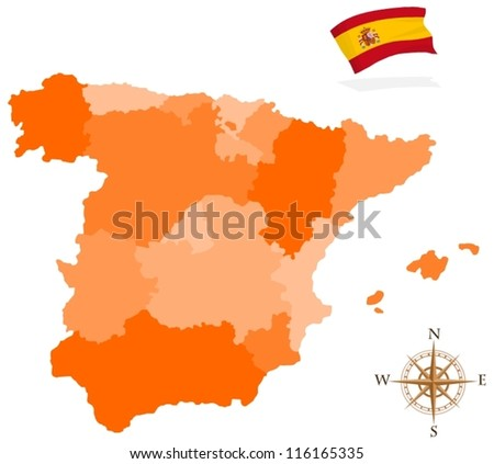Map of Spain, regions - stock vector