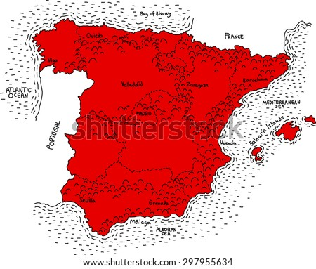 map of spain  vector map of