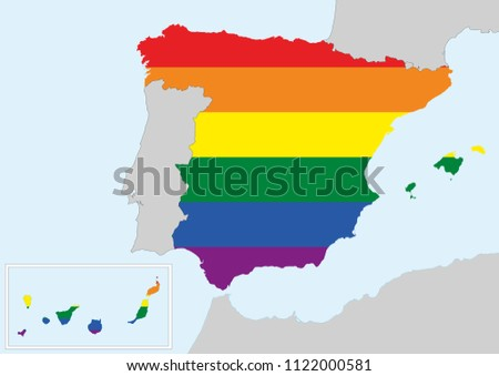 Map of Spain with gay flag colors. Gay friendly country