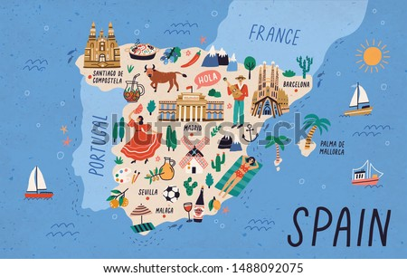 Map of Spain with touristic landmarks or sights and national symbols - cathedrals, flamenco dancer, bull, sangria, paella, man playing guitar. Colorful vector illustration in flat cartoon style.