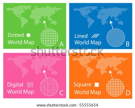 Vector dotted global world map download free vector art stock map of squares circles digital and lines gumiabroncs Images
