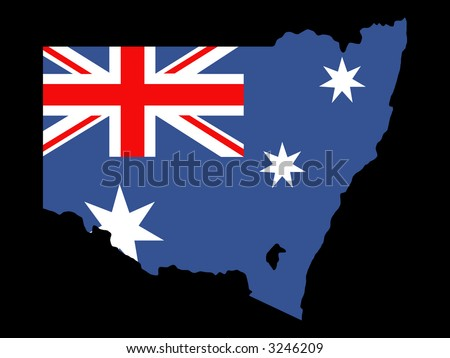 map of state of New South Wales and Australian flag - stock vector