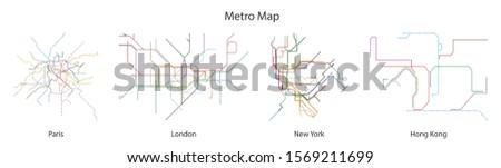 map of subway vector black set