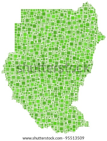 Map of Sudan (Africa) in a mosaic of  green squares