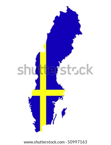map of Sweden filled with flag of the state - stock vector
