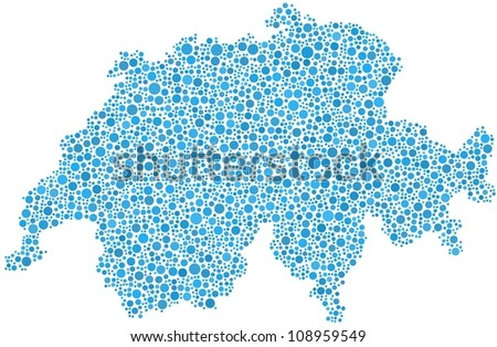Map of Switzerland (Europe)  in a mosaic of blue circles. A number of 3118 little bubbles are accurately inserted into the mosaic. White background.