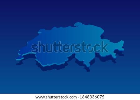 map of switzerland on blue
