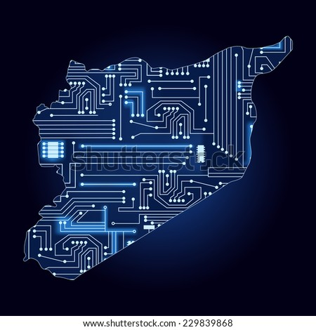 map of syria with electronic